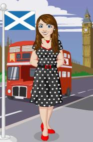 Kim McNelis avatar in front of Big Ben (Houses of Parliament) & a Scotland flag