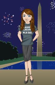 Kim McNelis avatar in front of the Washington Monument in D.C., with Fireworks (of celebration) in the background.
